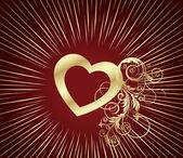Red heart background vector — Stockvector