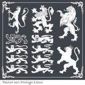 Silhouettes des lions héraldiques vector background — Vecteur