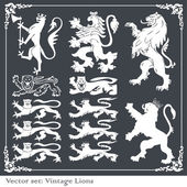 Silhouettes of heraldic lions vector background — Stock Vector