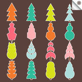 Colorful set of spruce tree vector — Stockvektor