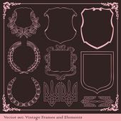 Vintage elements for frame or book cover, card vector — Stock Vector