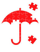 Red vector umbrella puzzle background concept — Stock Vector