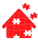 Red Puzzle Home vector — Stock Vector
