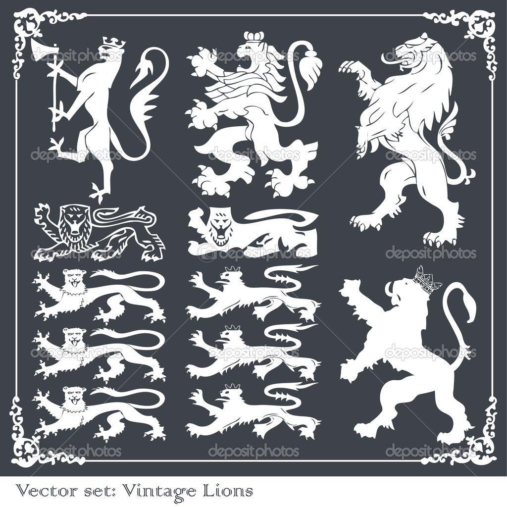 Silhouettes of heraldic lions vector background for poster  Imagen vectorial #4090822