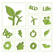 Ecology eco icon button set vector — Stok Vektör