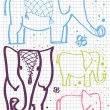 Big and small elephant vector background from kids sketch — Stockvektor