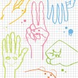 Hands vector background on squared paper — Image vectorielle