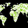 Stok Vektör: World map made of green ecology icons vector background