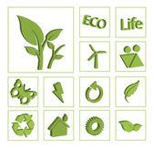 Ecology eco icon button set vector — Stock Vector