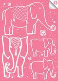Grande y pequeño elefante vector fondo de niños dibujo — Vector de stock