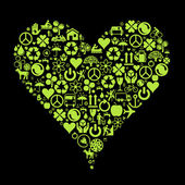 Eco green icon heart vector background — Stock Vector