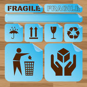 Safety fragile icon set vector — Stock Vector