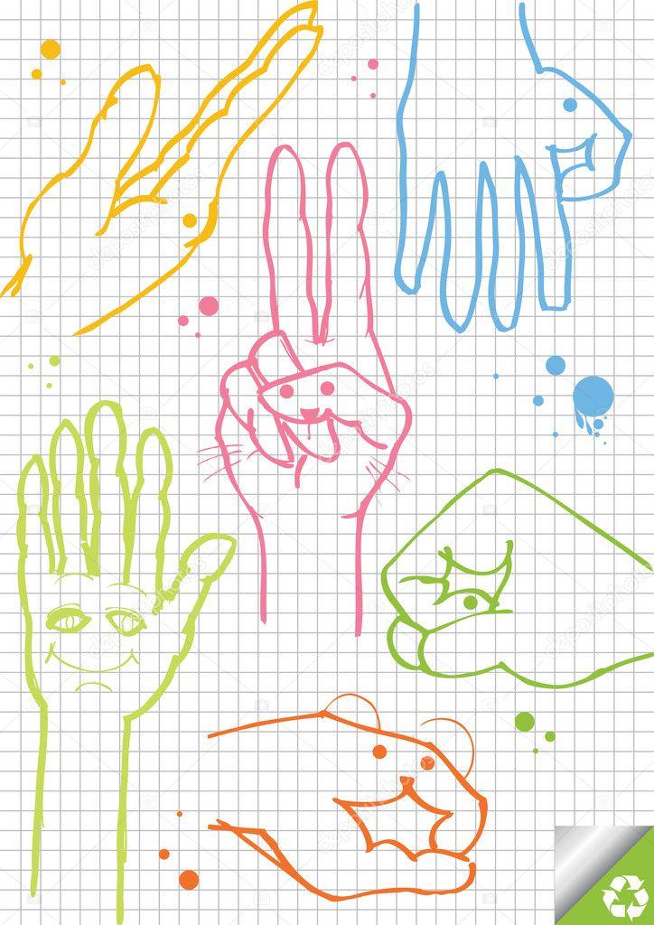 Hands vector background on squared paper — Stock Vector © krabata ...