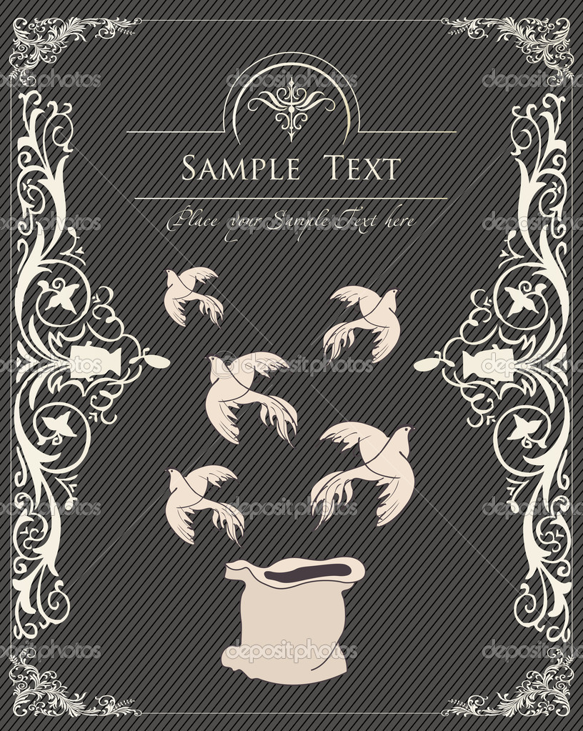 Dove focus vector vintage background for poster — Stock Vector #4182223