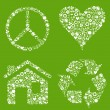 Eco house, heart, peace vector background with many icons — Vector de stock