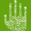 Hand green vector icon background concept made with buttons — Stock Vector