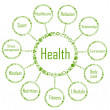 Health network diagram concept made with ecology icons - Imagen vectorial