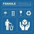Safety fragile icon set vector — Stock Vector #4339268