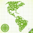 Ecology world map made of eco icons — Stockvector #4339329