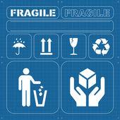Safety fragile icon set vector — Stock Vector