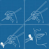 Moving hand with chopstick instruction manual blueprint — Stock Vector