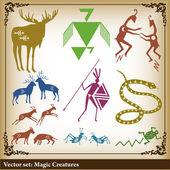 Ancient African symbols vector background — Stock Vector