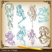 Vector Illustration set of medieval knights and woman background — 图库矢量图片