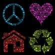 Eco house, heart, peace vector background with many icons - Stock Vector