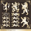Royalty-Free Stock Vector Image: Silhouettes of heraldic lions vector background