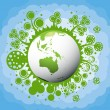 Ecology green planet vector concept background — Stock Vector #4437855
