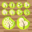 Green eco tree icons vectors — Vettoriali Stock