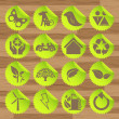 Green eco icons vectors — Stock Vector