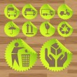 Green eco fuel transport icons vectors — 图库矢量图片