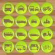 Green eco fuel transport icons vectors — Vector de stock