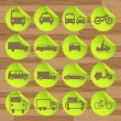 vectores de iconos verdes eco combustible transporte — Vector de stock