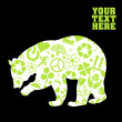 Green bear eco icons vectors — Vettoriali Stock