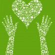 Hands holding green vector icon background concept made with buttons — Stock Vector