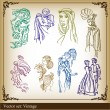 Middle ages silhouettes illustrations - Image vectorielle