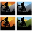 Bicycler on the brink of a rock - Stock Vector