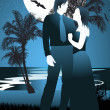 Couple in tropical beach at night under starry sky, framed by palm trees — Stock Vector