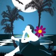 Girl in tropical beach at night under starry sky, framed by palm trees — Stock Vector