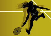 Tennis player silhouette — Stock Vector