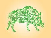 Wild boar green vector — Stock Vector