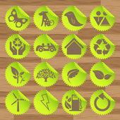 Groene eco pictogrammen vectoren — Stockvector
