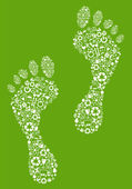 A colorful green eco footprint Illustration made with ecology icons — Stock Vector