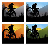 Bicycler on the brink of a rock — Stock Vector