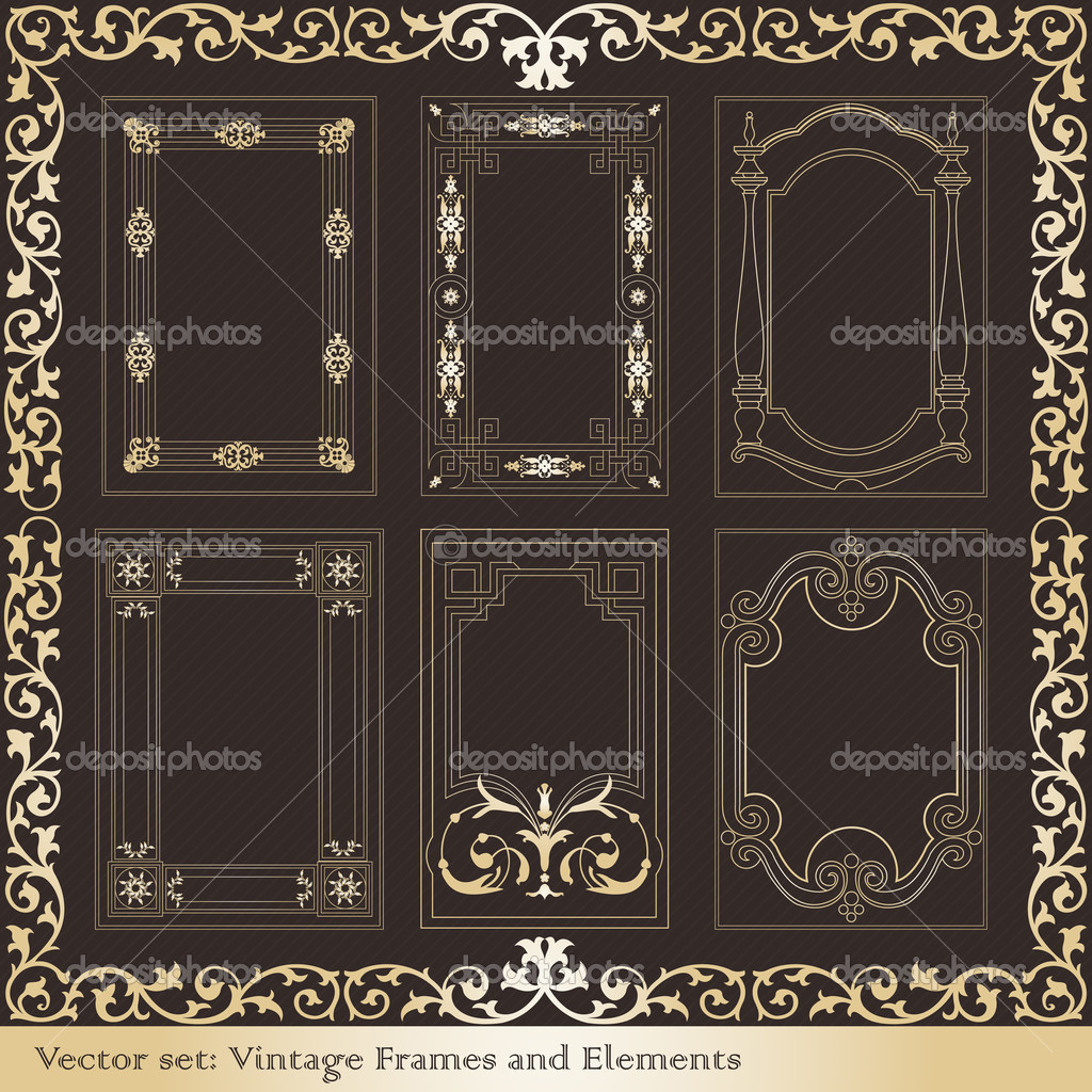 Classic Book Covers Vector : Vintage elements for frame or book cover card — stock