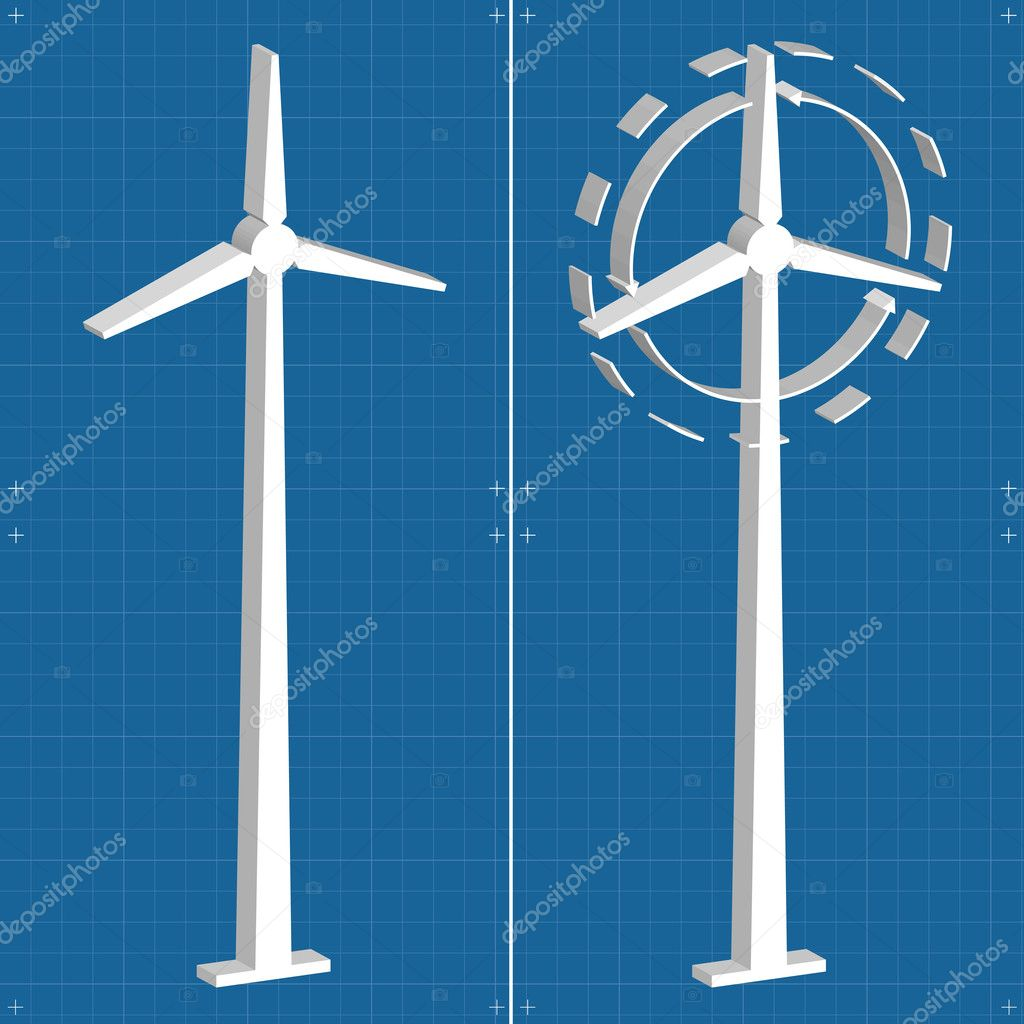 Windmill alternative energy 3d generator blueprint with wind flow ...