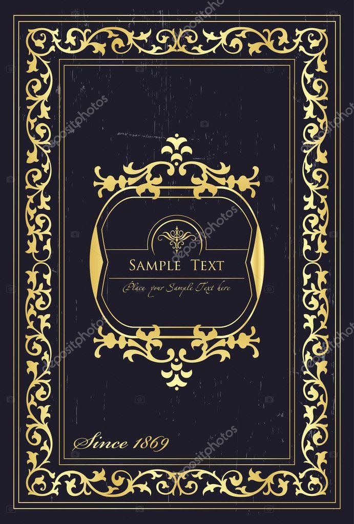 Vintage Book Cover Frame : Vintage elements for frame or book cover card — stock
