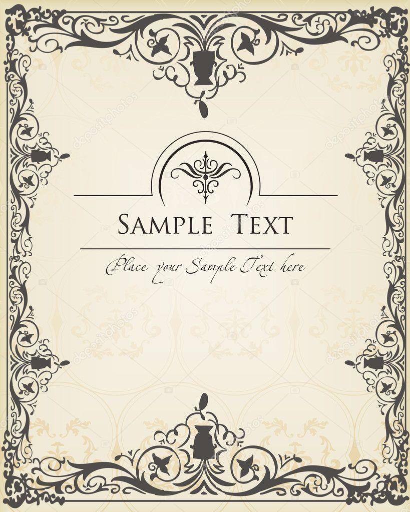 Vintage Book Cover Design Vector Free Download ~ Vintage background vector frame for book or card — stock